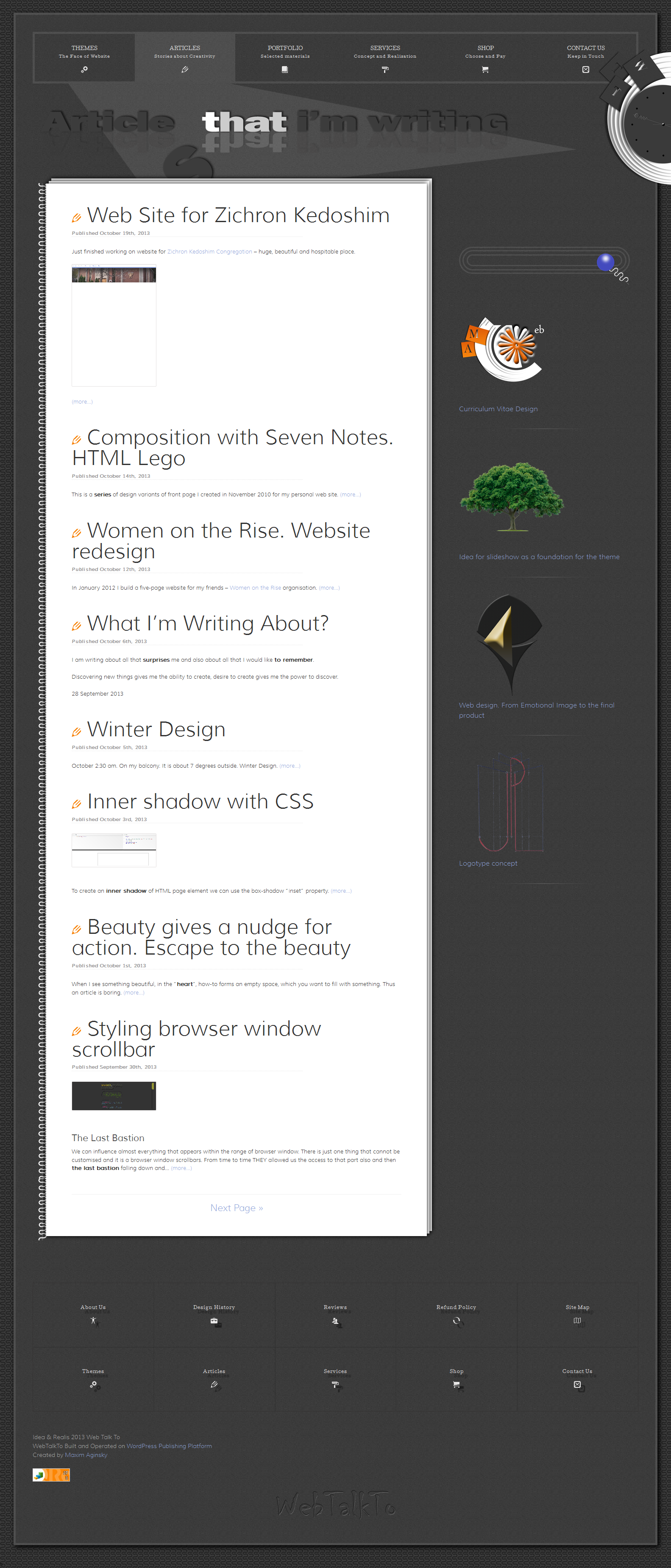 6 Articles page design